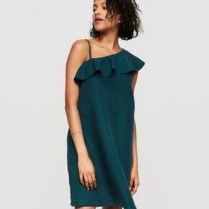 Lou & Grey One Shoulder Ruffle Dress - Dark Teal
